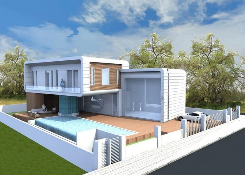 תכנון אדריכלי לבית המרחף על נפארק