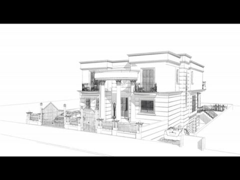 סקיצה של תכנון אדריכלי לבית פרטי