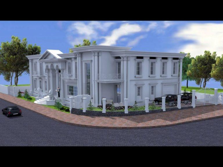 הדמיית תקריב של בית יוקרת בסגנון הבית הלבן