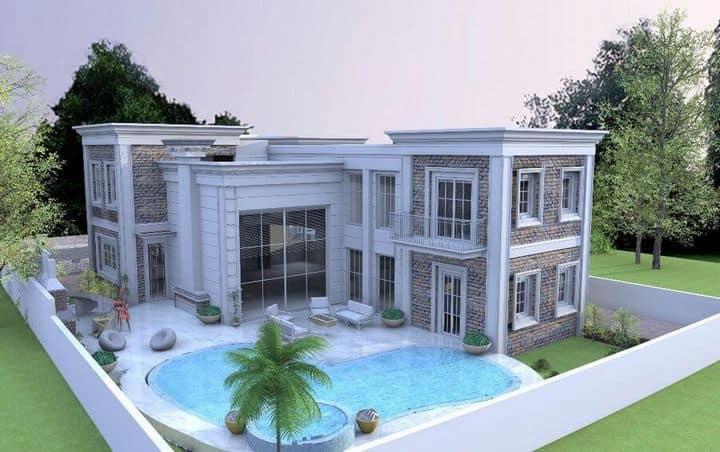 הדמיה של בית פרטי ענק וייחודי