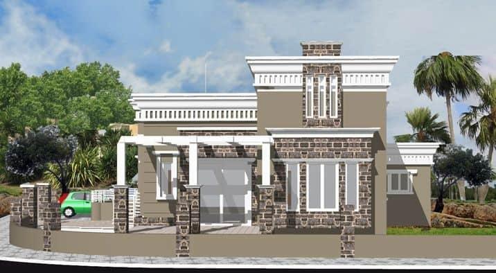 הדמייה אדריכלית לבית יוקרתי בצבע חום עם חלונות לבנים