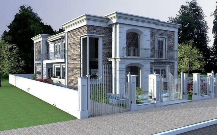 תכנון אדריכלי לבית יוקרתי בעל נוכחות גדולה