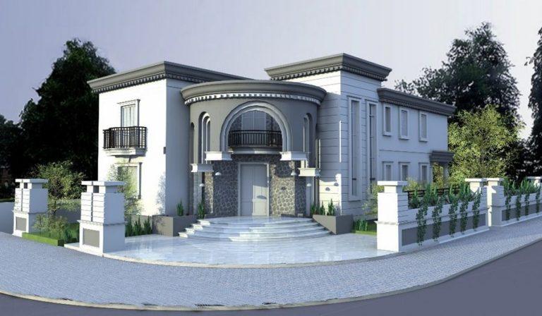 תכנון אדריכלי לחזית מפוארת לבית יוקרתי של משפחת רפאלוב