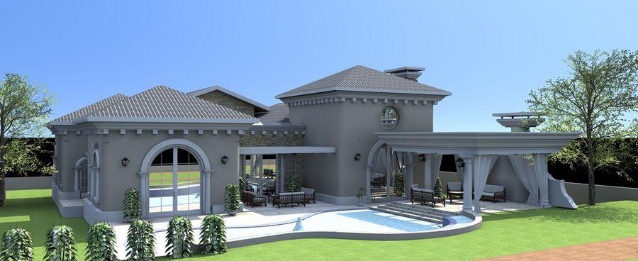 תכנון אדריכלי לבית יוקרתי בצבע אפור