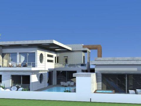 אדריכלות מודרנית לבית פרטי יוקרתי גדול במיוחד