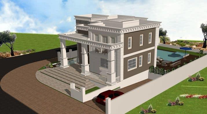 בית שתי קומות עם כניסה מפוארת עם עמודים גבוהים