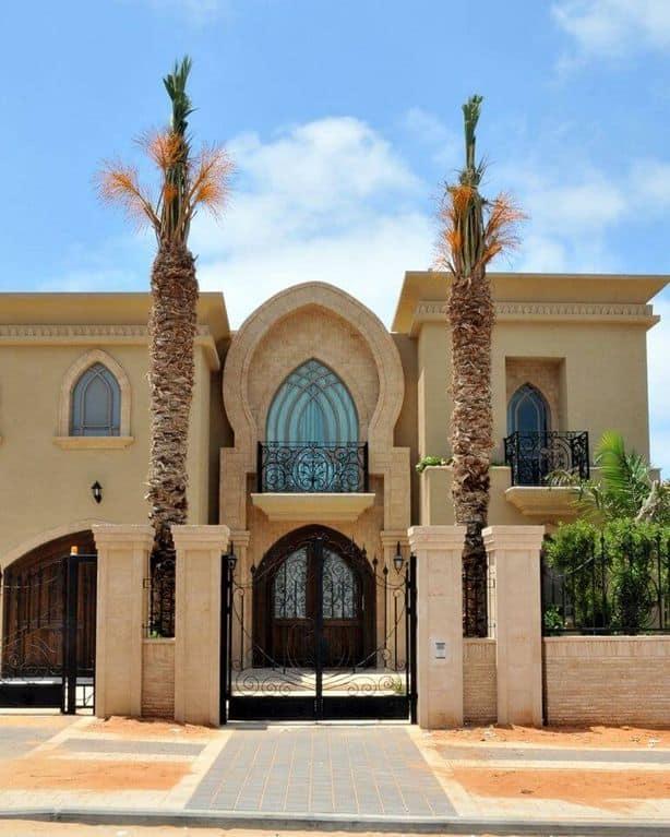 תכנון אדריכלי של בית יוקרתי בסגנון מרוקאי