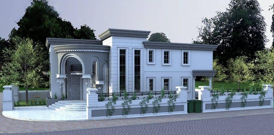 זווית נוספת של תכנון אדריכלי ירוק לבית בסגנון אירופאי על ידי מלכה אדירכלים