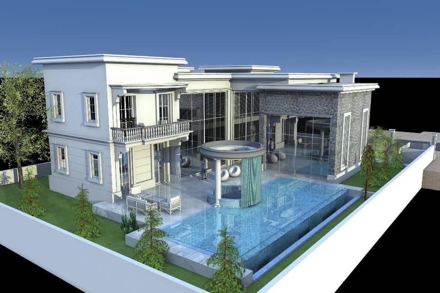 זווית אחורית של הבית בשכונת הגולף בקיסריה המעוצב ומתוכן אדריכלית למראה מודרני