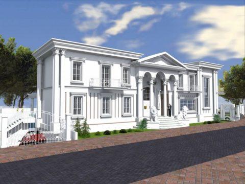 תכנון אדריכלי לבית יוקרתי בסגנון הבית הלבן