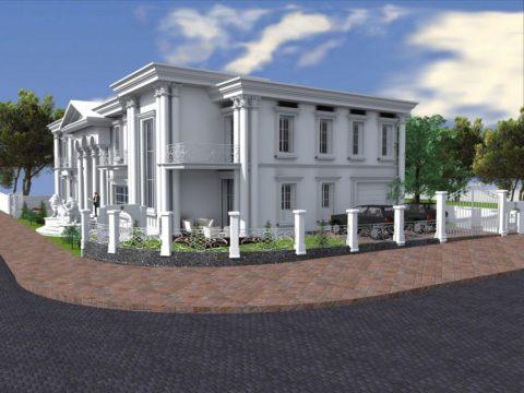 זווית נוספת של תכנון בית יוקרתי בצבע לבן