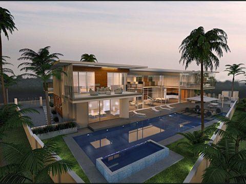 תכנון בתים פרטיים עם בריכה גדולה