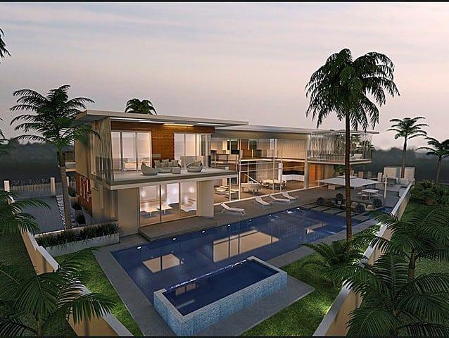 תכנון אדריכלי יוקרה עם בריכה גדולה