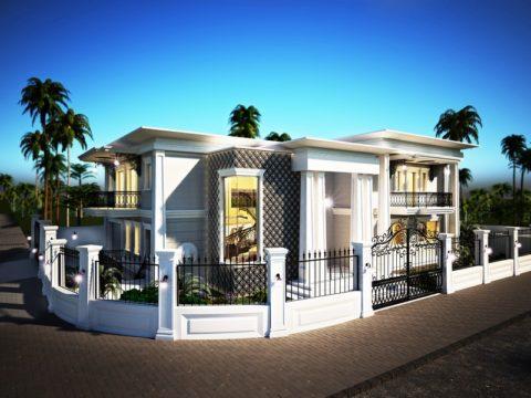 תכנון בית פרטי עם גדר חיצונית לבנה
