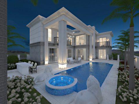 בית בעיצוב לבן עם בריכה גדולה