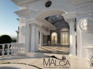 כניסה מרהיבה לבית עם עמודים ופסלי אריות לאדריכלות יוקרתית