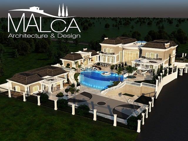 עיצוב בית יוקרתי לאחוזה ענקית - צילום הדמיה