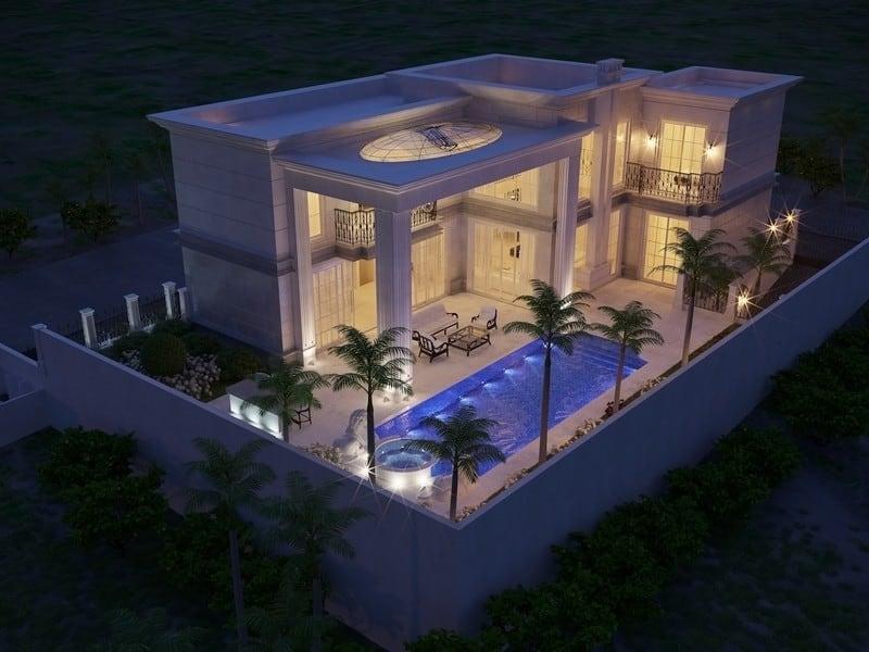 עיצוב של אדריכלי יוקרה עם עם עמודי תווך גבוהים יוונים